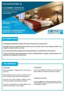 Brochure Housekeeping & cleaning services - Nettoyage et entretien d'hôtels